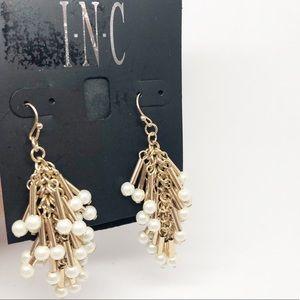 INC Pearl & Gold Tone Hook Shaky Earrings NEW